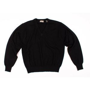 Lord & Taylor Black 100% Cashmere V Neck Sweater